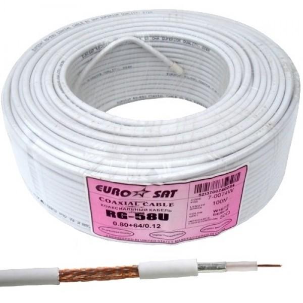 Кабель коаксиальный RG-58U (0,8CU+2,9PE+AL-foil+64х0,12CCA), одножильный, диам-5.0мм, белый, 100м