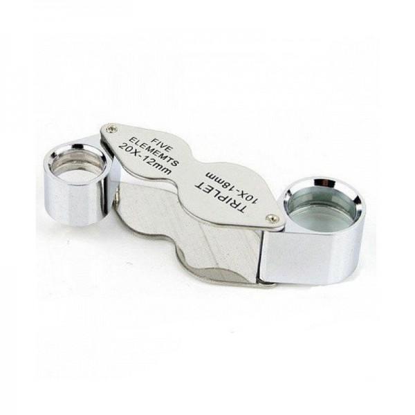 Лупа ювелирная Magnifier MG22188А, увел.- 10X,20X, диам.- 12мм, 8мм
