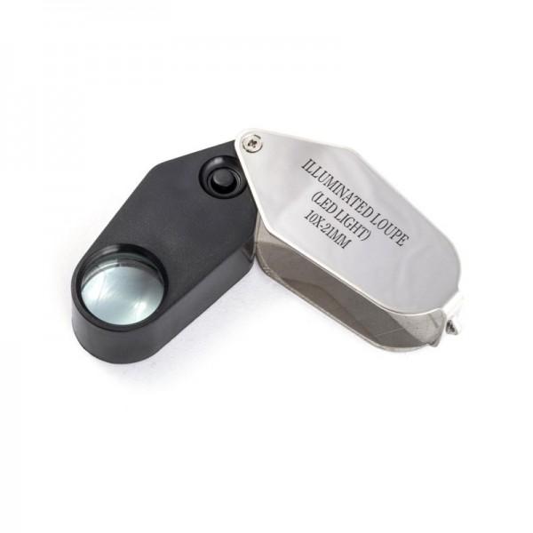 Лупа ювелирная Magnifier MG21002, увел.- 10X, диам.- 21мм c Led