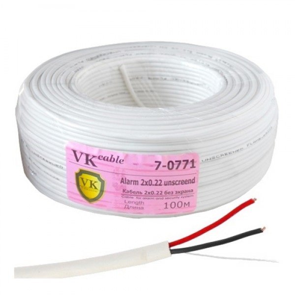 Кабель сигнальный VKcable 2 жилы (7х0.22мм) без экрана, CU, 100м, белый