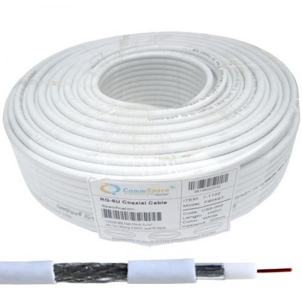 Кабель коаксиальный RG-6/48 (1,02CCS+AL-foil+48x0,12AL), одножильный, диам-6.8мм, белый, 100м