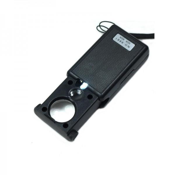 Лупа ювелирная Magnifier MG9881, увел.- 30X,60X, диам.- 12мм, 18мм c Led