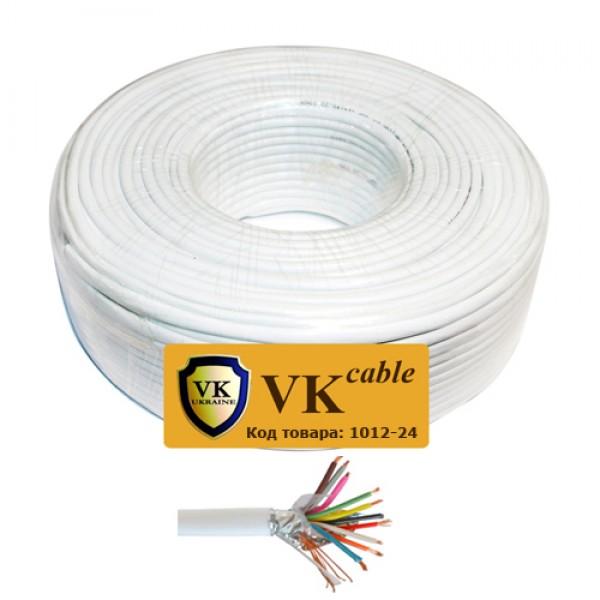 Кабель сигнальный VKcable 10 жил (7х0.22мм) в экране, CU, 100м, белый