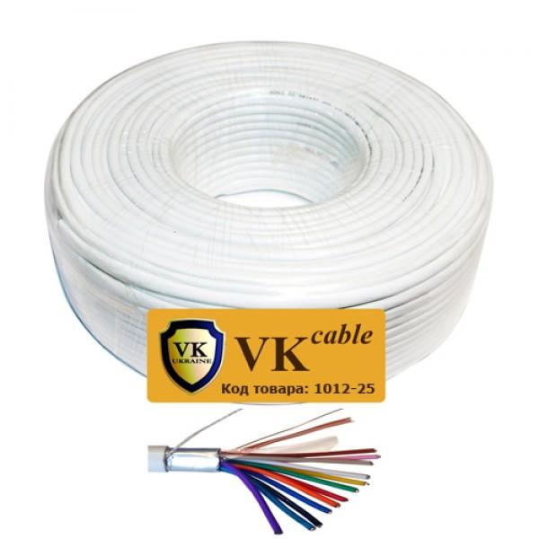 Кабель сигнальный VKcable 12 жил (7х0.22мм) в экране, CU, 100м, белый