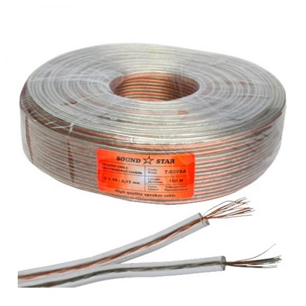 Кабель акустический 2х105.16мм (2.1мм.кв), CCA, 100м, прозрачный