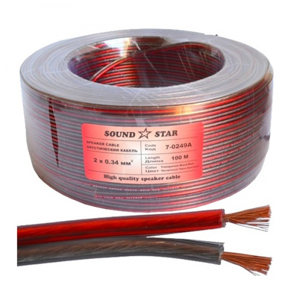 Кабель акустический (2х0.34мм.кв), CU, 100м, красно-черный, прозрачный