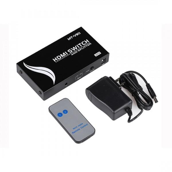 Сплиттер-переключатель HDMI 2x4 Mt-Viki MT-1204 (1080p/2k/4k|165MHz|v.1.4)